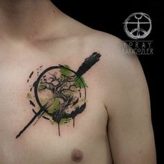 in watercolor tattoo style depicted in the Japanese Tree Tattoo ...