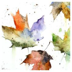 AUTUMN LEAVES Watercolor Print by Dean Crouser ❤ liked on Polyvore featuring home, home decor, wall art, backgrounds, fall, autumn, flowers, filler, flower wall art y fall home decor