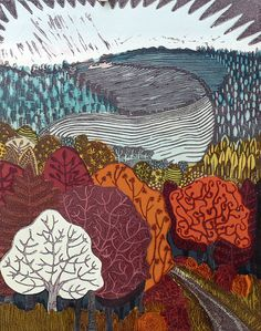 Liz Somerville Linocut Prints, Art Prints, Advanced Higher Art, Mono Print, Interesting Drawings, Printmaking Ideas, Illustration Art, Illustrations, Tree Art