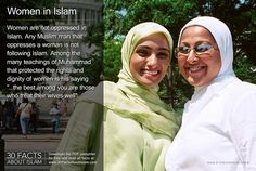 """Women are not oppressed in Islam. Any Muslim man that oppresses a woman is not following Islam. Among the many teachings of Muhammad that protected the rights and dignity of women is his saying """"...the best among you are those who treat their wives well"""". #muslimwomen #30factsaboutislam Image by Discover Islam - www.DiscoverIslam.com ©"""