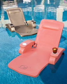 "Monogrammed Pool Recliner at Horchow.Relax in the water and soak up the sun with our fully adjustable pool recliner. Ours exclusively. Easily adjusts from upright position to full recline, and all points in between. Available in Coral, Bronze, White, or Aquamarine. Made in the USA of vinyl-coated foam. For personalization in style shown, specify one initial. 32""W x 60""L."