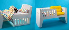 SOO COOL! Starts out as a cot and chair, turn it over and voila, you have a bed!