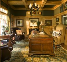 Beautiful, sophisticated home office....this would be a great room in which to hide away and read a book in one of these fabulous leather chairs.