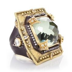 Knock 'Em Out! Amazing Old World midnight and 18K yellow-gold ring with green amethyst, white diamonds, and white sapphires. Image property of Armenta.