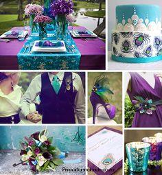 Purple Peacock Wedding @moxiethrift on etsy Strickland