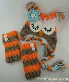 Baby Girl Sleepy Owl Earflap Hat Legwarmer Set - Photo Prop - Newborn Infant Toddler Baby Shower Winter Birthday Gift -Costume