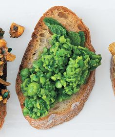 Smashed Peas With Mint Bruschetta  Ingredients  1/2 baguette  1 10-ounce package frozen peas, thawed  1 tablespoon chopped fresh mint  2 tablespoons extra-virgin olive oil  3/4 teaspoon kosher salt  1/4 teaspoon black pepper