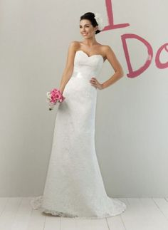 strapless seath wedding dress for summer with sweetheart neckline