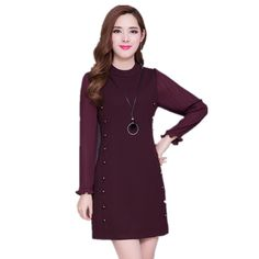 Aliexpress.com : Buy Middle and Old Women Stand Neck Temperament Mother Clothing Fashion Lady Solid Color Simple Plus Size Patchwork Dresses from Reliable patchwork dress suppliers on Shenzhen BYS Technology Co., Ltd