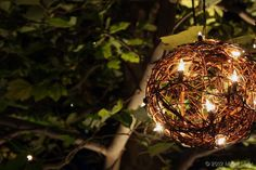 Wicker balls with lights in trees - Moon Light Holiday Lighting Event Lighting, Tree Lighting, Event Planning, Wedding Planning, Fantasy House, Hanging Decorations, Bali Wedding, Holiday Lights, 50th Anniversary