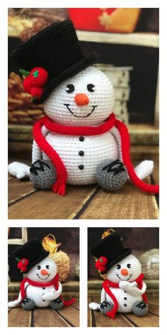 Crochet Christmas Gifts, Christmas Crochet Patterns, Holiday Crochet, Crochet Patterns Amigurumi, Crochet Dolls, Amigurumi Doll, Crochet Santa, Crochet Snowman, Free Crochet