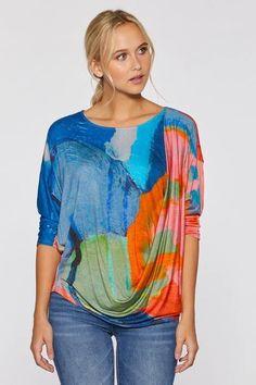 Untitled One Drape Top by Claire Desjardins. #clairedesjardins #clairedesjardinsart #ClaireDesjardinsApparel #DesignerJacket #JeanJacket #cami #WomensApparel #WearableArt #designerclothing #apparel #designerapparel #artandfashion #fashionandclothing #artonclothing #abstractart #abstractpainting #designerclothes #womensapparel #Tunic #Dress #Jacket #MotoJacket #WomensTop #Scarf #Dress #Blouse