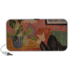 Redhead Woman Relaxing Speaker  This relaxing painting by the late acclaimed Maine artist, Judith Leighton, will fit right in when you turn your music on. This design harkens back to an earlier, simpler time.  Available only from our store, J'ai Elle Designs!  www.zazzle.com/jaielledesigns?rf=238992566203380397