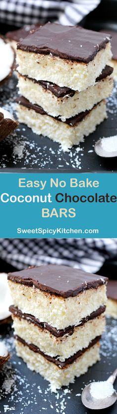 Easy No Bake Coconut Chocolate Bars