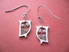 Aretes de buho plata  joyas para animales  por StudioRhino en Etsy