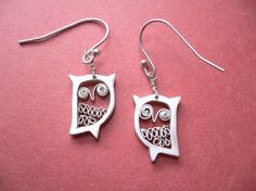 Tiny Owl Earrings  Animal Fine Silver Jewelry by StudioRhino, $35.00