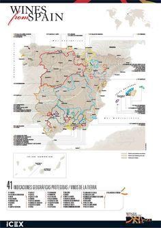 Mapa de los Vinos de la Tierra correspondiente a las 41 Indicaciones Geográficas Protegidas.
