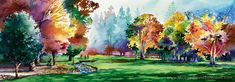 """Falling Leaves at Royal Oaks"" - Watercolor Golf Art by Michael David Sorensen  www.MichaelDavidSorensen.com"