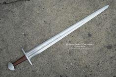 "Norman Crusader Sword 12th C Overall Length 39.8"" Grip Length 4.3""  Blade Length 33""  Blade Width 2.5"""