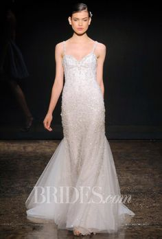 Brides.com: Lazaro Fall 2014 Simple Strap Embellished Wedding Dress | Click to see more from this collection!
