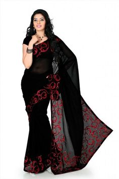 Designer Black Faux Georgette Saree With Unstitched Blouse @ Rs 649