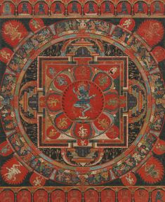 Mandala of Hevajra. Tibet. 1400s. Hevajra appears here in his three-headed and four-armed form. This manifestation is drawn from the Hevajra Tantra, a text revered by the Sakya School of Tibetan Buddhism, possibly the patrons of this painting....