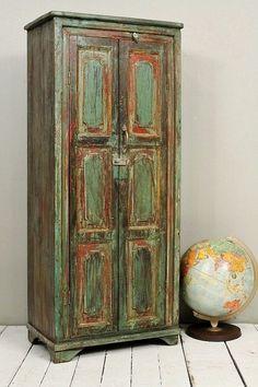 Antique Indian Bar Storage Kitchen Bathroom Cabinet Media Tower Farm Chic Warm Industrial Green Brown Red Yellow
