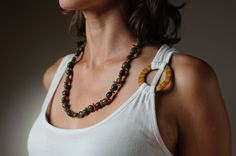 Autumn Statement Necklace Fashion Beaded Necklace Green Red Fall Jewelry. $99.00, via Etsy.