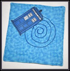 Burp Cloth  Doctor Who Tardis Applique Blue TieDye by geekabyebaby, $8.00