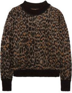 Isabel Marant Metallic Leopard-Print Mohair-Blend Sweater