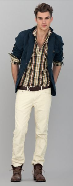 Gant by Michael Bastians Pre Fall 2012 - navy heavy canvas sportcoat, plaid plain weave western shirt, dark brown belt, ecru cord jeans, brown lace-up boots