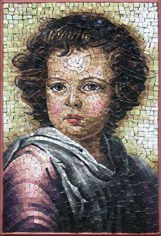 Mosaic of a young boy Mosaic Stepping Stones, Stone Mosaic, Mosaic Glass, Stained Glass, Mosaic Wall Art, Mosaic Diy, Mosaic Tiles, Mosaic Portrait, Historical Art