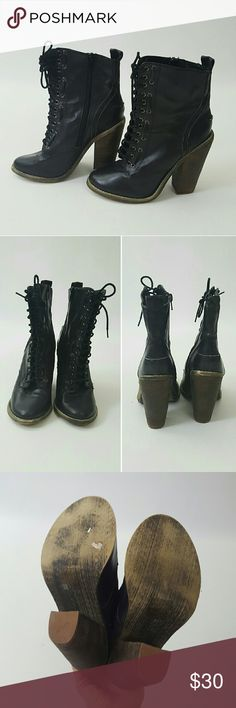 "Black lace-up heeled ankle booties 7.5 Perfect lace-up ankle booties by Deena + Ozzy.  Lace-up classic boots with a 5"" heel.  Faux/vegan leather. In very good used condition :) Urban Outfitters Shoes Heeled Boots"