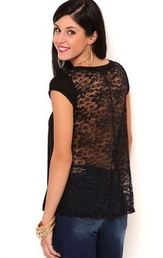 Deb Shops Short Sleeve Knit Babydoll Swing Top with Lace Back $16.00