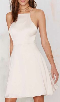 Dancin' Queen Satin Dress - Nude