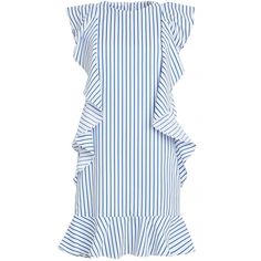 Striped Ruffled Dress by New Revival (€44) ❤ liked on Polyvore featuring dresses, flutter-sleeve dress, long striped dress, flounce dress, long peplum dress and striped cotton dress