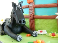 Horse birthday cake, black horse