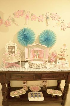Sugar plum fairy birthday party dessert table!  See more party planning ideas at CatchMyParty.com!