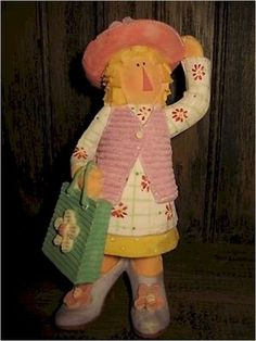 THREE DIFFERENT TYPES Raggedy BAG LADY by Honey & Me Folk scarecrow resin PINK hat Gift figurine  @eBay! http://r.ebay.com/66s4Sd 30d