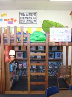 Each classroom has a Reading Loft that houses their classroom library and also serves as a reward system for reading at home. Students earn days up in the loft by reading a certain number of minutes at home with their parents. Classroom Setting, Classroom Setup, Classroom Design, Future Classroom, Classroom Organization, Classroom Arrangement, Classroom Supplies, Classroom Displays, Kindergarten Classroom