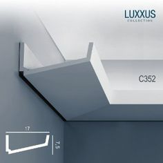 Orac Decor LUXXUS cornice indirect lighting system ceiling coving decoration moulding 2 m Cove Lighting, Indirect Lighting, Interior Lighting, Lighting Design, Lighting System, Lighting Ideas, Ceiling Light Design, False Ceiling Design, Ceiling Lights
