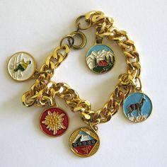 1960s Vintage Travel Souvenir Charm Bracelet  by vintagedame