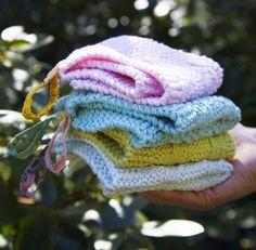 Vi strikke nemme små firkantede vaskeklude.