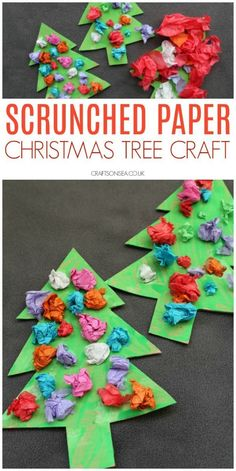 scrunched paper christmas tree craft for preschoolers These cute scrunched paper christmas trees are a perfect easy craft for toddlers, preschoolers or older kids and help promote fine motor skills too. Christmas Crafts For Toddlers, Winter Crafts For Kids, Christmas Crafts For Kids, Christmas Themes, Holiday Crafts, Christmas Paper, Christmas Activities For Preschoolers, Winter Preschool Crafts, Kindergarten Christmas Crafts