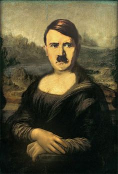 when mona lisa and adolf hitler fused together. created using adobe photoshop.