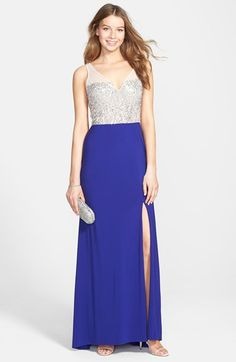 Hailey+by+Adrianna+Papell+Beaded+Open+Back+Jersey+Gown+available+at+#Nordstrom$189 Pretty but too blue?