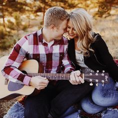 Cute engagement session in Rocky Mountain National Park, Colorado. Playing guitar for fiance. Brett Brooner Photography.