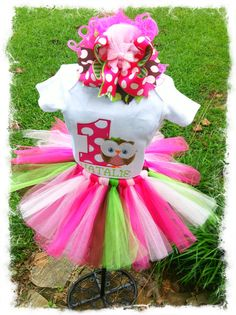 3PC. Girls OWL 1st BIRTHDAY TuTu OUTFITGirls 1st by BetterThanBows, $62.95