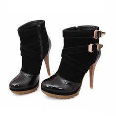 Black Suede Faux Patent Buckle Strappy Stiletto Booties