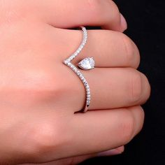 Silver Pave Bar Double Ring for Two Fingers. Trendy Silver Bar Ring with a 2ct Cubic Zirconia Center Stone.These Stylish Knuckle Rings are a Popular Jewelry Trend and Totally Versatile. 18k Plating 2